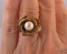 ESTATE  Vintage  10K Yellow Gold Pearl  Rose Flower Floral Ring   7.9 grams