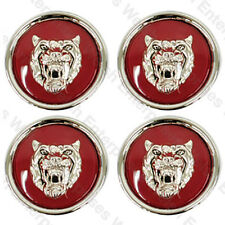 Jaguar Wheel Badge Set - Center Cap - Wheel Motif - 1988-2012 - Maroon/Silver