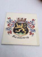 Vintage Trivet Ceramic Accent Wall Tile Heidelberg Germany Crest Shield 6x6 AA