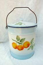 ANCIEN SEAU POT DE CHAMBRE EN METAL EMAILLE DECOR  MANDARINES n°674