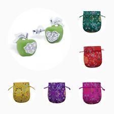 Childrens Girls Sterling Silver Cubic Zirconia Apple Stud Earrings - Pouch