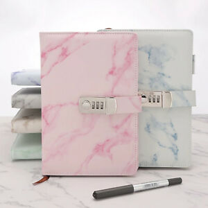 Marbled PU Leather Journal Wired Diary Lockable NoteBook w/ Password Code Lock ~