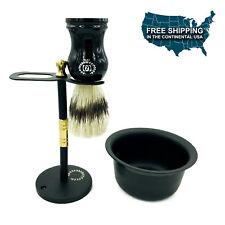VINTAGE STAINLESS STEEL SHAVING STAND FOR RAZOR & BRUSH + SHAVING CUP BLACK 3 PC