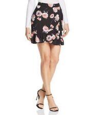 Cotton Candy LA Skirt XS NWT Womens Black Pink Floral Ruffle Faux Wrap