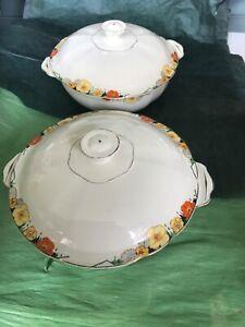 2 Vintage Alfred Meakin Royal Marigold Lidded Tureen / Veg Dish Art Deco 1930's