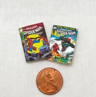 2 Miniature SPIDER MAN COMIC BOOK Dollhouse Miniatures Book Comic 1:12 Scale