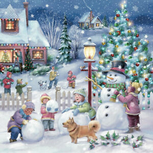 Two Single Paper Luncheon Napkins Decoupage Craft Winter Snowman Kids Christmas