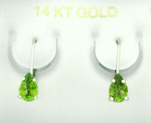 GENUINE 0.82 Cts PERIDOT DANGLING EARRINGS 14K WHITE GOLD * Free Certificate *