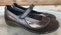 NAOT Brown Suede Leather MJ Mary Jane Clog Comfort Slip On Women's Sz 39 / US 8