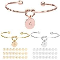 Women 26 Initial Letters Charm Open Alloy Bracelet Cuff Love Knot Bangle Jewelry