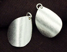 Karen Hill Tribe Silver 2 Brushed Curve Drop Pendants 16x23mm.