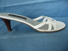 """Etienne Aigner Sandals Slip Ons 8M Strappy Cutout White Leather Bow Front 2.75"""""""