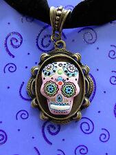 """DAY of the DEAD Goth Pink Sugar Skull Skeleton 14-16"""" Black Velvet Choker"""