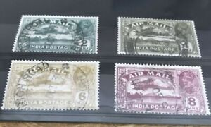 India Air Mail Stamps. 1929 4 Values To 8a.   Fine Used.