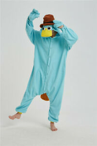 Cartoon Platypus Animal Cosplay Pajama Halloween Fancy Dress Outfit Sleepsuit
