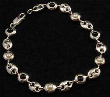 .925 Sterling Silver Art Deco Round Oval Link White Pearl Black Onyx Bracelet