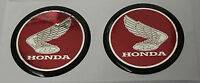 HONDA TANK BADGES DOMED RESIN GEL DARK RED/CHROME