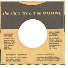CORAL RECORDS - 45rpm company sleeve  (The Stars Are Out)  (b)