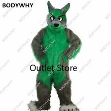 Long Fur Wolf Mascot Costume Fursuit Cosplay Fancy Dress Outfit Advertising