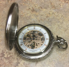 CHARLES-HUBERT Two-Tone Mechanical Skeleton Pocket Watch Works Great!