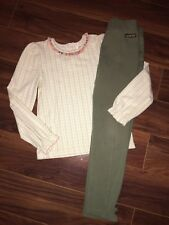 Matilda Jane Bee Top & Emerald Gables Ponte Pants Olive Green Ruffles Size 6 EUC