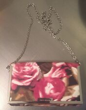 KAREN MILLEN Pink Floral CLUTCH Crossbody purse evening bag Handbag Cross Silver