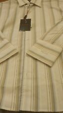 BNWT MENS Vichi White and Cream Long Sleeve Multi  Striped Shirt Size Medium