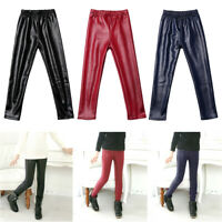 Girls Thick Velvet Faux PU Leather Leggings Trousers Pencil Pants Slim Pant