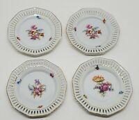 """4 Vtg Schumann Dresden Art Pierced Porcelain China 5"""" Floral Plate Saucer Set"""