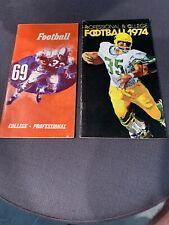 1969,1974 NFL& College schedules & handbooks Presented by ESSO & EXON JOE NAMATH