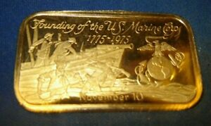 Founding the U.S. Marine Corps 480 Grains(1.09714 OZ)Fine Silver 999 Art Bar