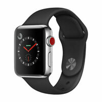 Apple Watch Series 3 42mm GPS + Cellular 4G LTE Stainless Steel Black Sport Band