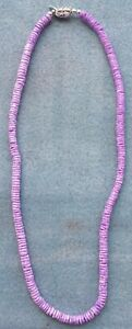 Purple Puka Clam Shell Beads Beach Surfer Necklace 18 inch