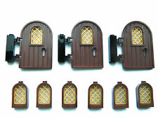 LEGO doors x3 + windows x6 brown gold for castle house modular hinges keyhole *