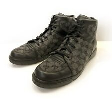 Men's Gucci High Top Sneakers Shoes GG  Monogram Canvas Wool Leather Sz 7 363734