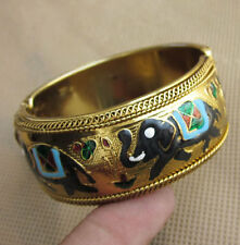 Women's Cuff Bracelet Bangle Brass Gold Meena India Tibetan Handmade Jewelry w20