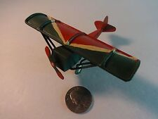 Airplane Metal Ornament Green & Red WWI Airplane