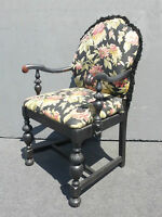 Vintage French Provincial Floral with Fringe Black Arm Chair