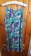 PEACOCKS Blue Tropical Floral Print, Knee Length Summer/Sundress Womens' Size 18