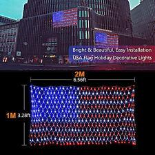 New listing Usa Flag Lights Led American Flag Net String Light Hanging Garden Yard Decor