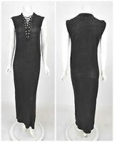 Womens IRO Daisy Maxi Dress 100% Linen Black Lace Up V-Neck Size S / UK8