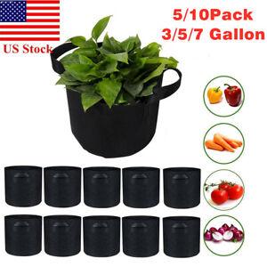 5/10pc Grow Bags Garden Heavy Duty Non-Woven Aeration Plant Fabric Pot Container