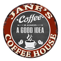 CPCH-0077 JANE'S COFFEE HOUSE Chic Tin Sign Decor Gift Ideas