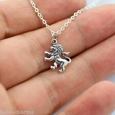 LION NECKLACE - 925 Sterling Silver Lion Charm Necklace *NEW* Jewelry Zoo Jungle