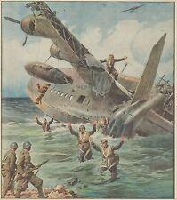 K0871 L'equipaggio inglese di un idrovolante si arrende  - Stampa antica 1942