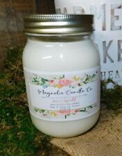 Scented LOVE SPELL 16oz Mason Jar Hand Poured Magnolia Candle Co. 100% Soy