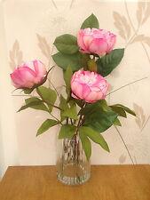 BEAUTIFUL ARTIFICIAL FLOWER ARRANGEMENT PINK PEONIES & WATER IN GLASS VASE