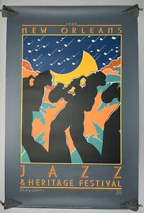 Scarce 1980 New Orleans Jazz & Heritage Fest Poster Phillip Collier LE 1309/1500