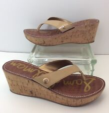 "f70467cc7 Sam Edelman ""Romy"" Beige Faux Patent Stylish Thong Wedge Flip Flop Sandals  10 M"