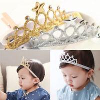Girls Princess Crown Headwear Headbands Bow Toddler Baby Kids Hair Accessories